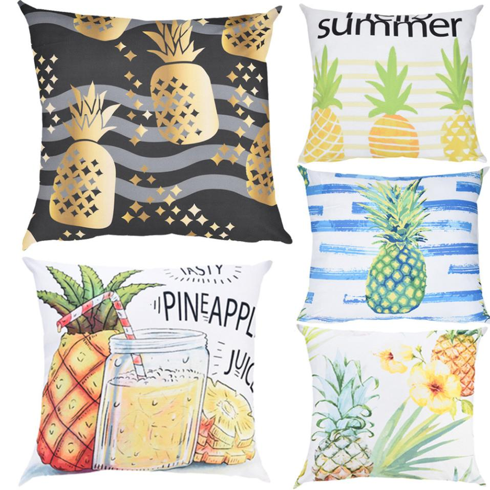 Summer Fruit Pineapple Pattern Cushion Cover Polyester Pillow Cases Square Throw Pillow Cover Bedroom Sofa Decoration 45x45CM