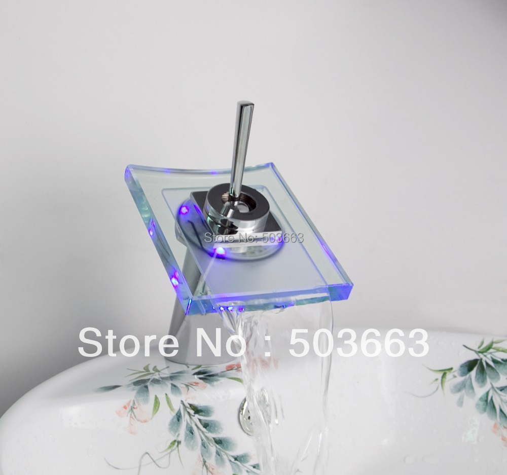 8009/12 Waterfall Chrome Battery Power  Bathroom Faucet  LED Basin Sink Tap юбка 8009 2015