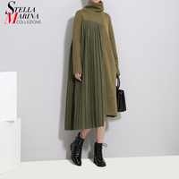 2018 Autumn Winter Women Army Green Pleated Sweater Dress Long Sleeve Turtleneck Female Casual Streetwear Midi Dress Style 3031
