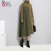 2018 Autumn Winter Women Army Green Pleated Sweater Dress Long Sleeve Turtleneck Female Casual Streetwear Midi Dress Style 3031