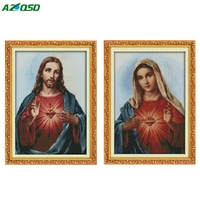 DMC 11CT 14CT High Quality Cross Stitch Kits Sacred Heart Jesus Decor Counted Print On Canvas
