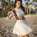 2016 New Pretty Girl's Tulle Lace Sleeveless Two Pieces A-Line Short/Mini Dress Formal Gown robe de cocktail Dresses Custom Size