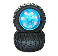 Free Shipping 4pcs HSP 1/10 Monster tires truck tyres with aluminium alloy metal wheels diameter 125mm
