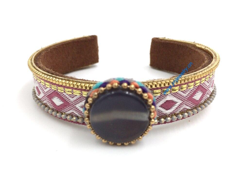 Nova jóias fornecedores de fósforo pulseira artesanal de tecelagem pedra pulseira vingtage chicote de cabo para as mulheres