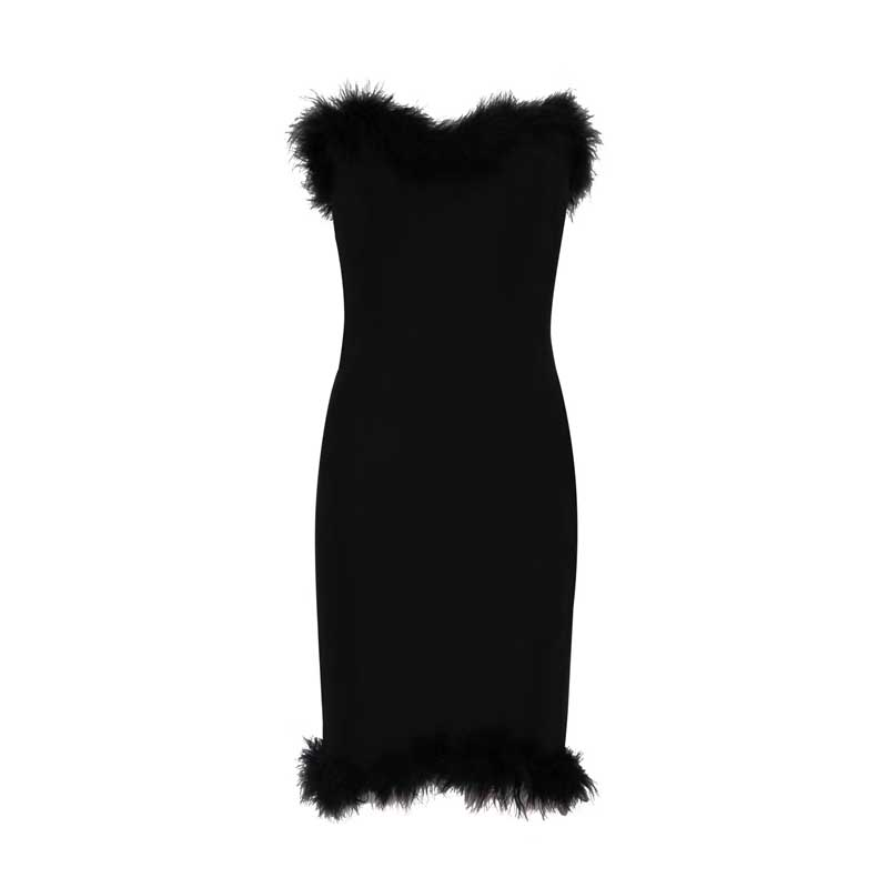 Night Club Bandage Bretelles Noir 2018 rouge Et Sexy En Nouvelle De Mini Party Mode Plume Noir Celebrity Gros h2521 Rouge Robe 1T8qw7O