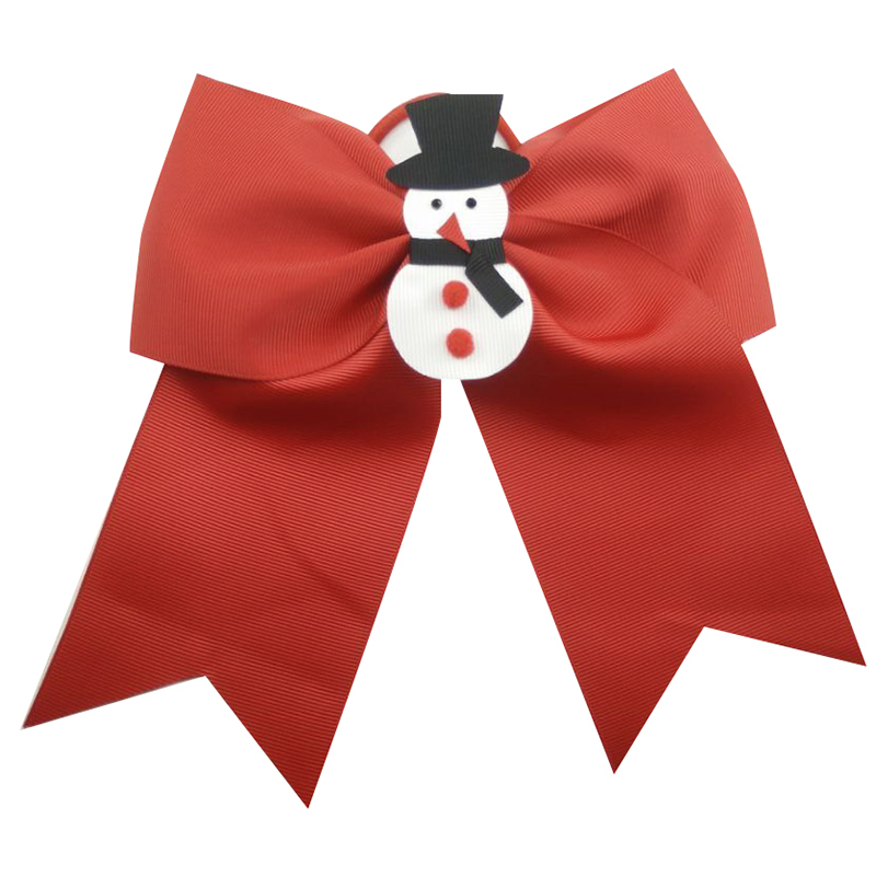 7 Inch Christmas Hair Bows cheer bows Polyester ribbon Kids Girls Hair Accessories Elastic Hair Bands commission in Hair Accessories from Mother Kids