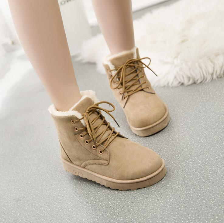 Hot 2019 New Women's Snow Boots Winter Warm Women Ankle Botas Lace Up Fur plush Insole Boots Flat student Ladies Martin Boots