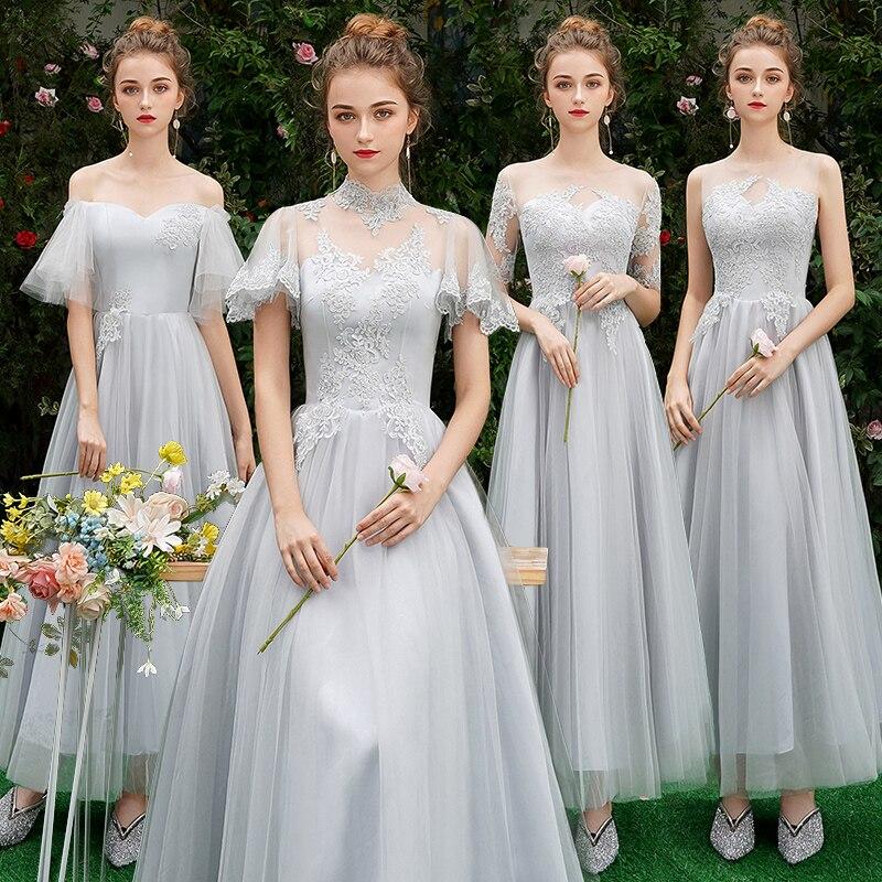 Elengant dentelle robes de demoiselle d'honneur 2019 longue grande taille pour les femmes une ligne demi manches Vestido da dama de honra
