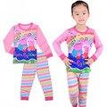 Marca meninas menino de algodão de alta qualidade conjuntos de Pijama macio E Confortável do bebê Pijamas roupa dos miúdos dos desenhos animados pijamas roupa Das Crianças
