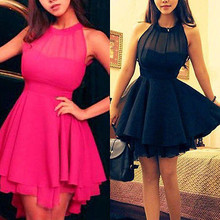 Womens' Sleeveless Sexy Backless Chiffon Party Ball Prom Evening Short Dress pink black