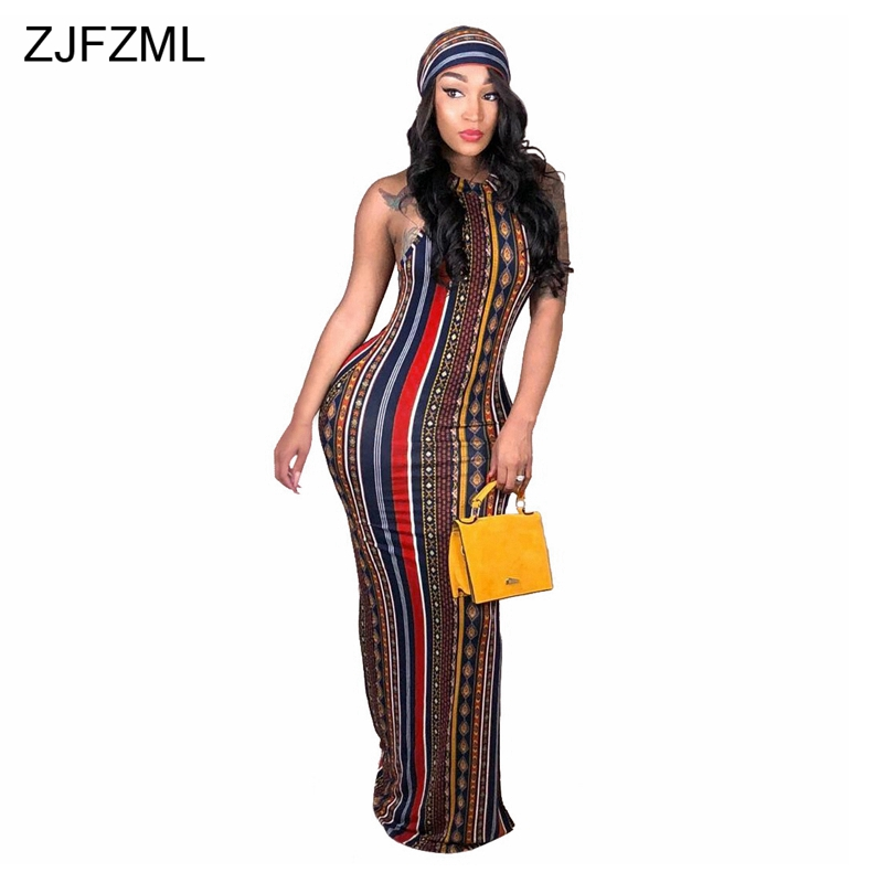 ZJFZML Striped Printed Vintage Bohemian Dress Women O Neck Sleeveless Plus Size Dress Casual Vocation Maxi Dress With Head Scarf Платье