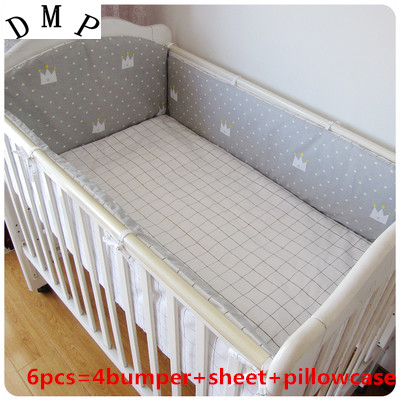 6pcs Conjunto De Berço Grey Crown Cotton Curtain Crib Bumper Nursery Bedding Baby Cot Sets (4bumpers+sheet+pillow Cover)