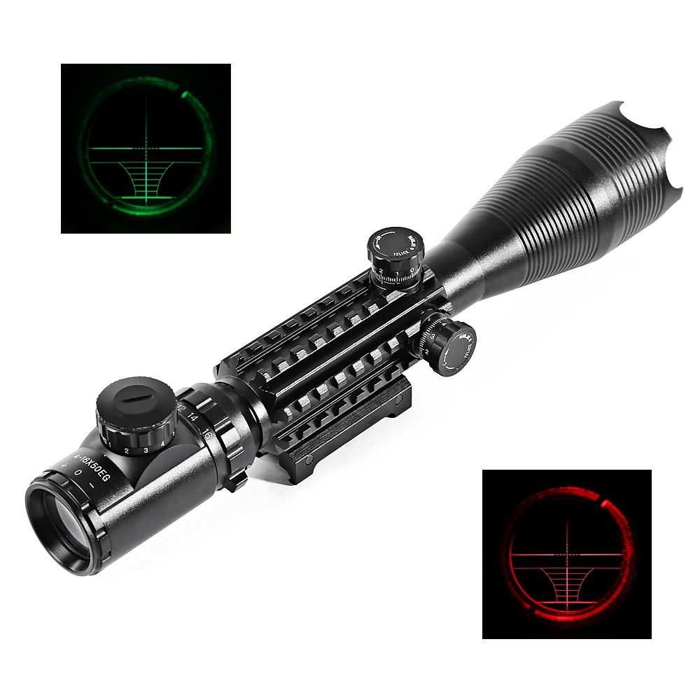 C4 - 16 X 50 EG Water Resistant Shockproof Scope Laser for Rifle Hunting Kit Durable Aluminum Riflescopes For 20mm Rail дефлектор капота mitsubishi капота pajero sport 2008 серия art графит