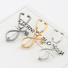 WHO Enamel Metal Stethoscope Pins Brooches Coat Coverall Clothes Lapel Pin Medical Button Badge Jewelry Gift for Doctors Nurses