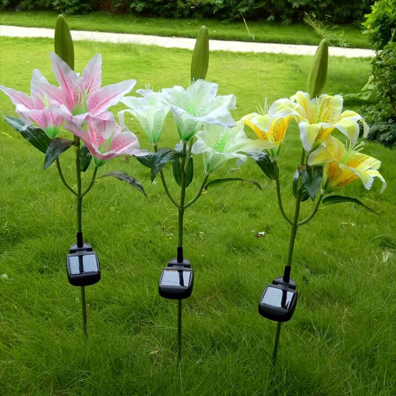 Solar Power 3 LEDs Fake Flower Lily Garden Stake Landscape Lamp Outdoor Yard Party Decor Lights LB88