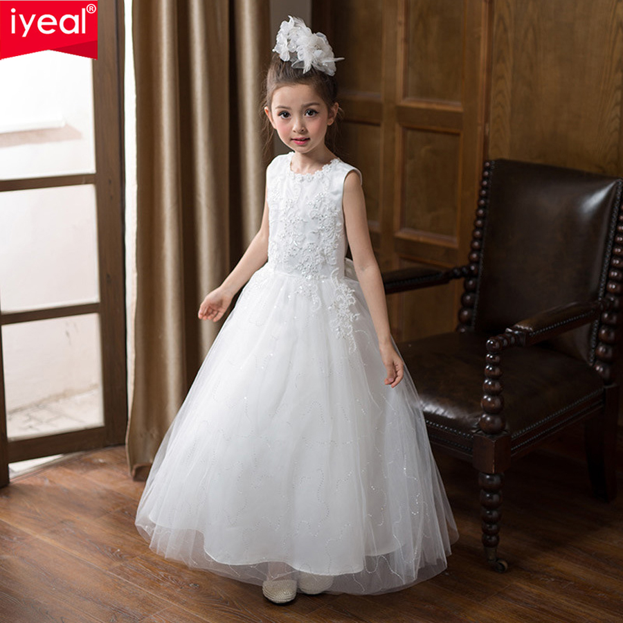 IYEAL High-end Kids Girls Lace Evening Dress The Banquet Elegant Appliques Sequins Sleeveless Long Party Formal Gowns Dresses gzlspart for hp 2727 2727n m2727nf hp2727 hp2727n hp2727nf original used formatter board cc370 60001 laserjet printer parts