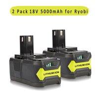 2PCS New Replacement 18V 5000mAH Lithium Power Tool Battery For Ryobi 18 Volt Tool P122 P102