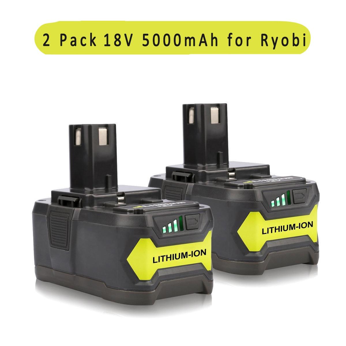 2PCS New Replacement 18V 5000mAH Lithium Power Tool Battery for Ryobi 18-Volt Tool P122 P102 P108 P109 набор bosch ножовка gsa 18v 32 0 601 6a8 102 адаптер gaa 18v 24