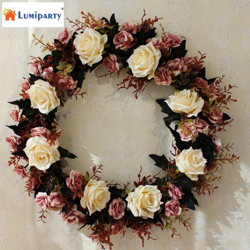 lumiparty silk flower door wreath 45cm spring summer garden wreaths decor for home door wall hanging