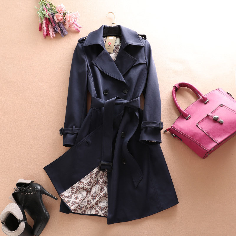 female Windbreaker 2018 autumn winter high quality   trench   coat women's temperament long outerwear plus size