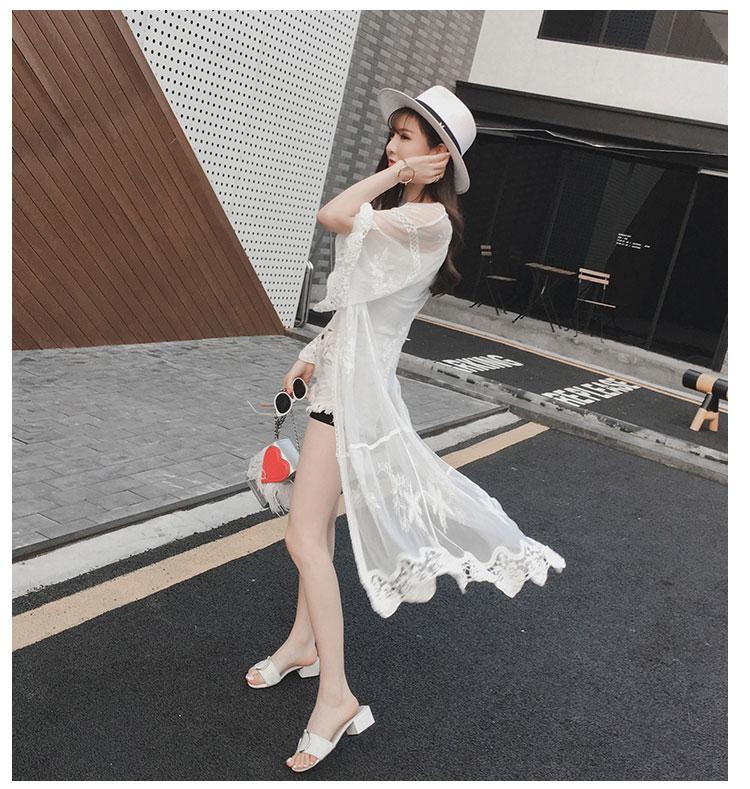 2018 Solar Primavera Moda Tops Protección Verano Blanco Coreano Blusa Cardigan Camisa Blusas Encaje Y 1 Mujeres Feminina XnIqxt61