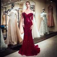 Luxury Dark Red Mermaid Off Shoulder Evening Dress 2019 with Tassel Short Sleeves Formal Long Beaded Engagement Party Prom Gowns