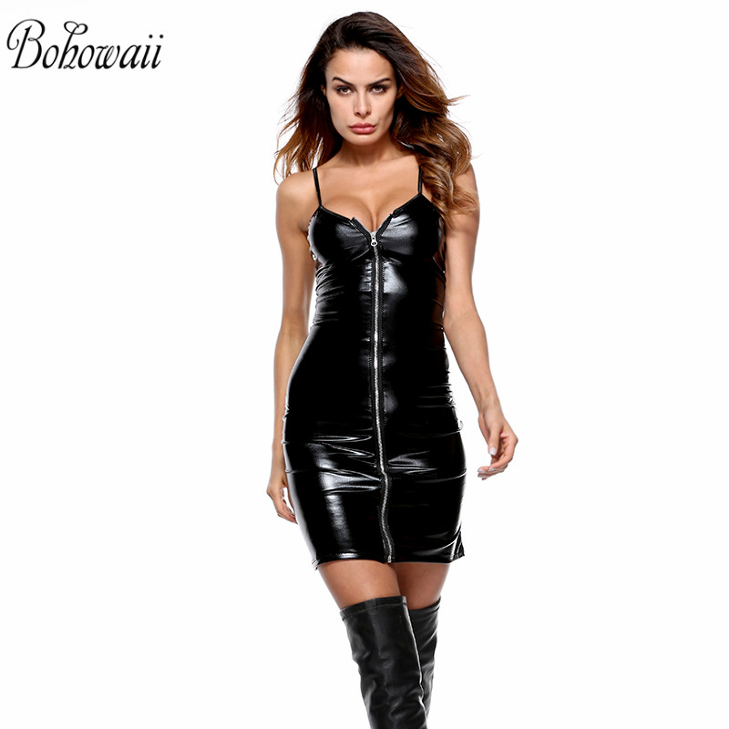 <font><b>4XL</b></font> <font><b>Sexy</b></font> Underwear Women Zipped up Bodystocking Faux <font><b>Leather</b></font> Mini Club Party Dress Lingerie image