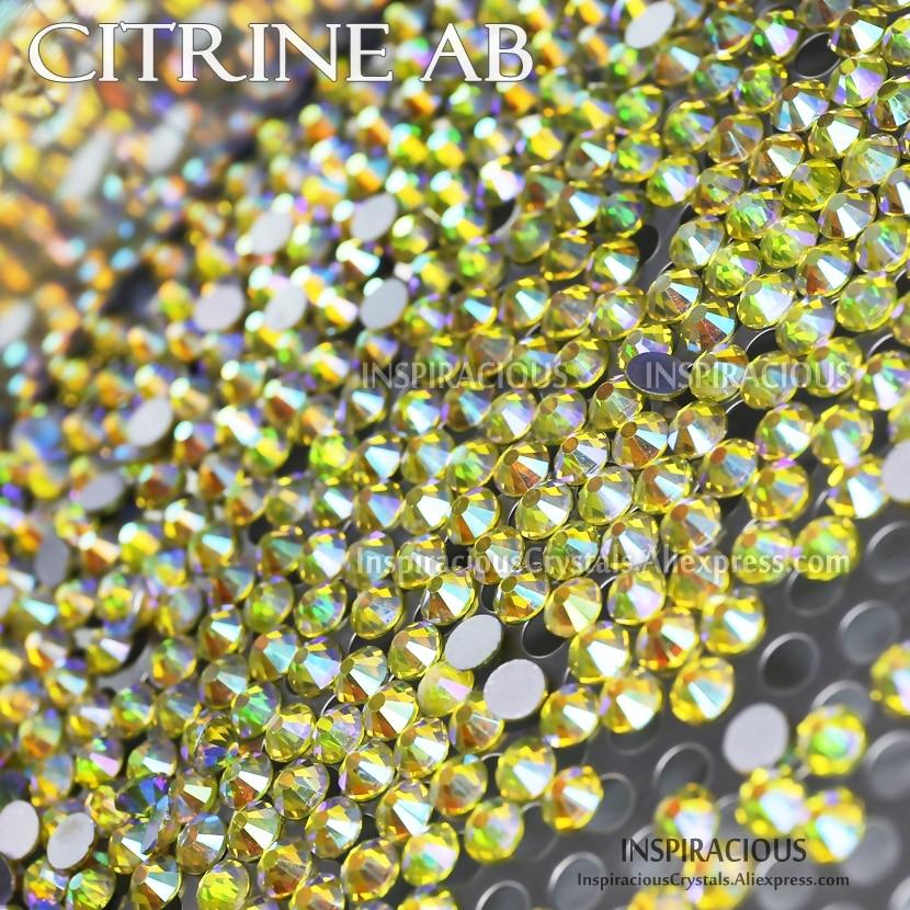 SS20 1440Pcs/Bag Citrine AB Nail Rhinestone Non HotFix FlatBack crystals strass glitters for DIY nails art design decor manicure