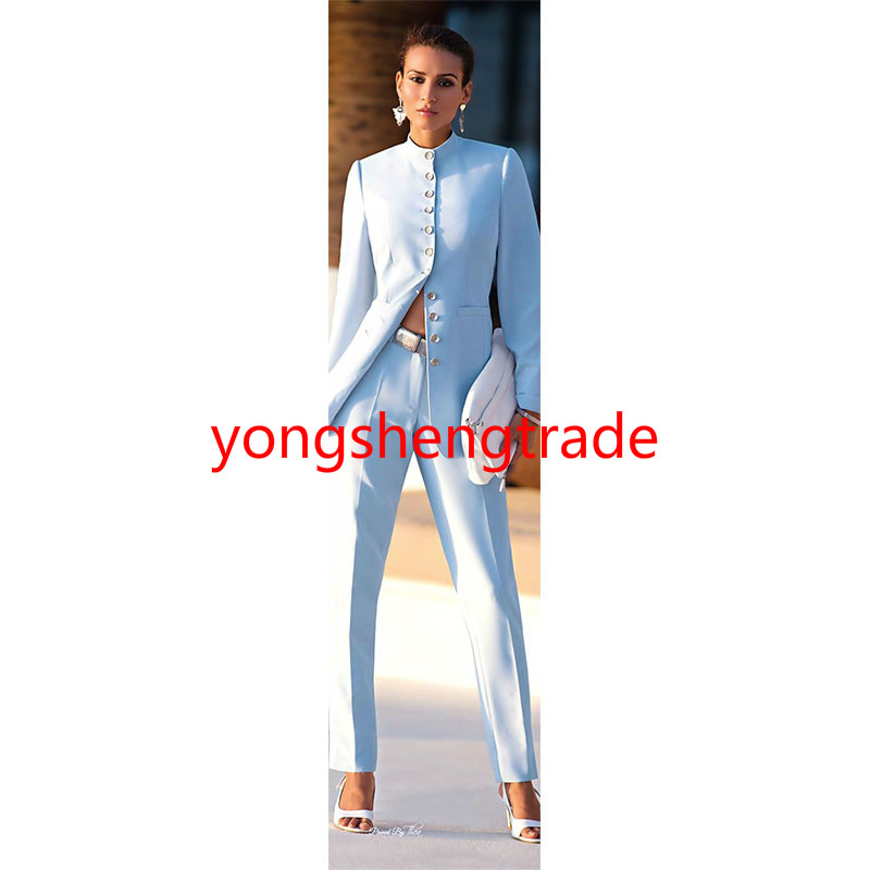 Fashion Sky Blue Women Business Suit Custom Made Trouser Suit 120 ...