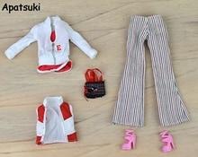 Doll Accessories For Barbie Dolls Winter Wear Suit Set Sport Coat Waistcoat Bag Pants Bag Accessories Clothes Kit Toys Kids Gift