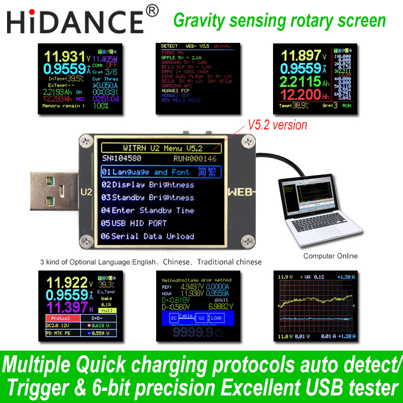 Qc4 pd3.0 usb tester digital voltmeter amperemeter voltimetro dc power volt meter WEB-U2 usb test spannung tester usb arzt detektor