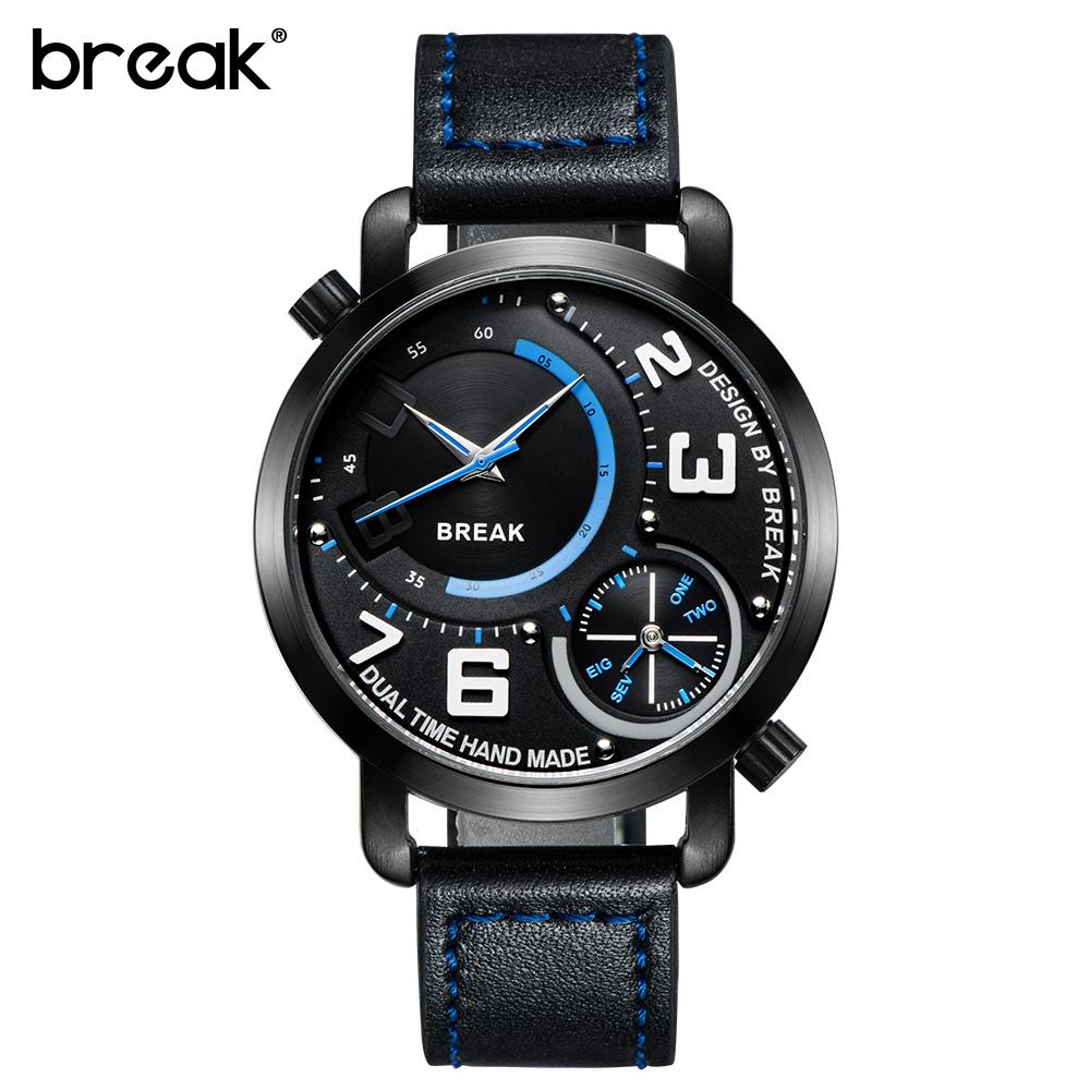 Prix pour BREAK de 2016 hommes d'origine véritable bracelet en cuir double affichage mode sport robe d'affaires quartz designer montre-bracelet homme horloge