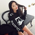 Black Women Girl Casual Crew Neck Blouse Long Sleeve Letter Print Loose Pullover Leisure Loose