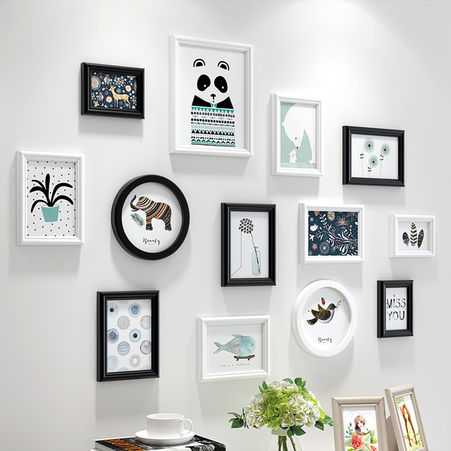 White Black Simple Style Wall Hanging Photo Frames Set 13pcs Wooden Picture Frame Living Room