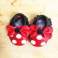 Натуральная Кожа Микки и Минни Малышей детские мокасины кисточкой и лук детская обувь Горячей продажи Во-Первых Ходунки Детская Обувь