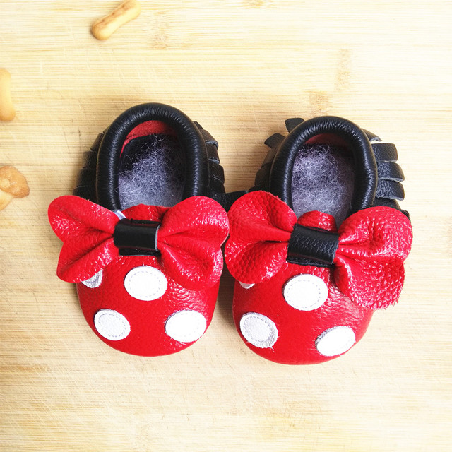 Genuine Leather Mickey and Minnie Toddler baby moccasins tassel and bow baby shoes Hot sales First Walkers Infant Shoes