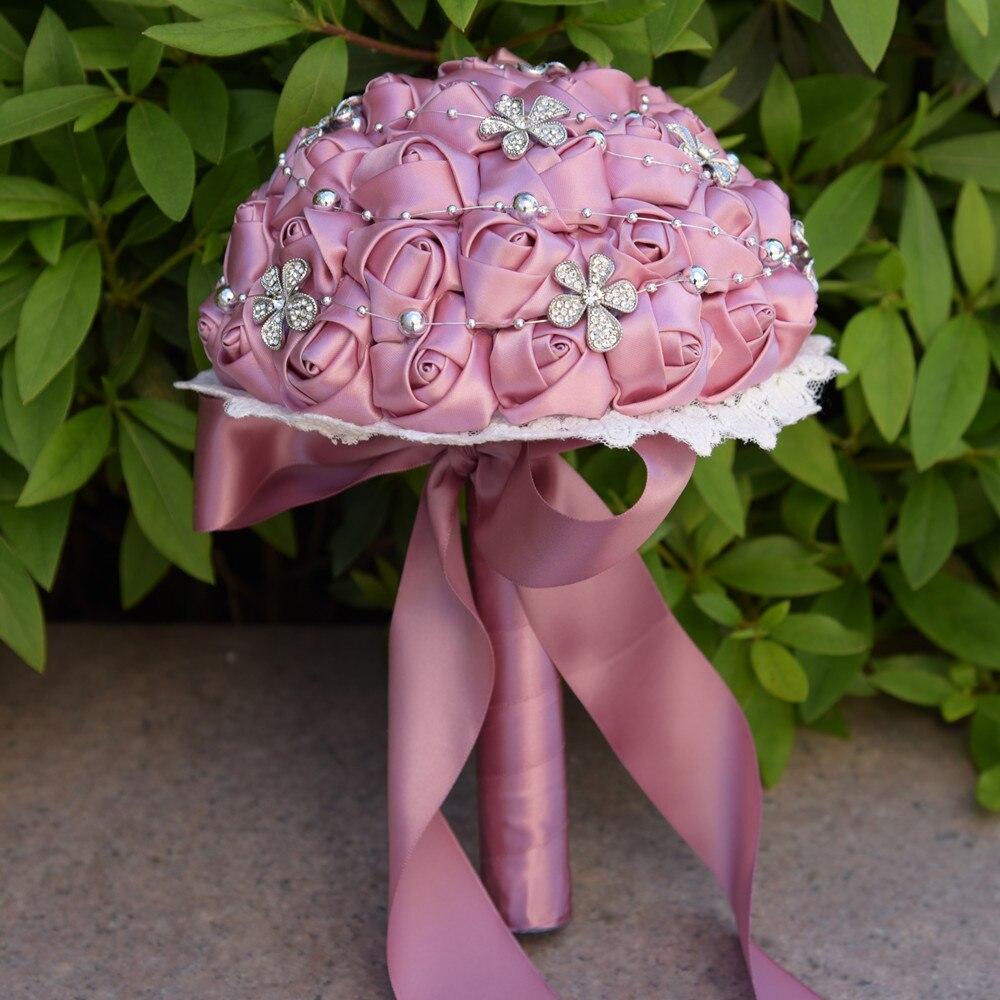 100% nouveau fait à la main en soie Rose fleurs de mariage artificielles cristal étincelle Patchwork mariée tenant fleur demoiselle d'honneur mariée Bouquet