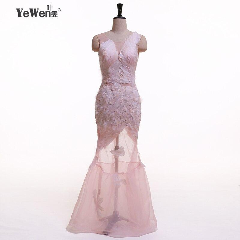 YeWen Piume Rosa Sexy Backless Sleeveless Della Sirena Abiti Da Sera 2018 Lungo Lace up Parte Abito Prom Dress Abiti da Festa