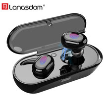 Langsdom Touch Control Wireless Bluetooth headset TWS volume control headset Earphone with Mic for iphone xiaomi fone de ouvido(China)