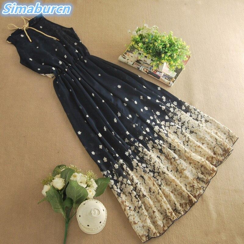 2018 Floral Print Chiffon Summer Long Dress Women Beach  Maxi  Kimono Sexy Bohemian Sleeveless Dresses Elegant Party Dresses