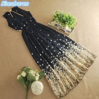 2017 Floral Print Chiffon Summer Long Dress Women Beach Maxi Kimono Sexy Bohemian Sleeveless Dresses Eleagnt