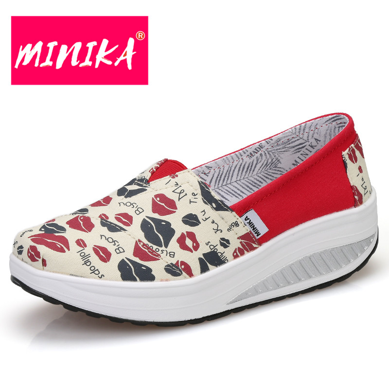 MINIKA Fashion Flat Shoes Women Colorful Printing Pattern Youth Trend Casual Shoes Women Thick Bottom Breathable Women Loafers minika breathable mesh lace shoes women thick bottom shallow mouth women casual shoes slip on flat shoes women high quality
