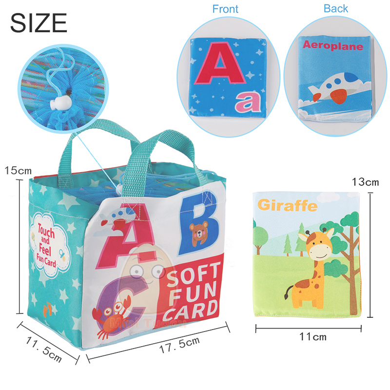 Image 5 - Newest Flashcards Learning Resource Baby Book Toy 26PCS Soft Alphabet Cards With Cloth Bag Babies English Reading Books    -