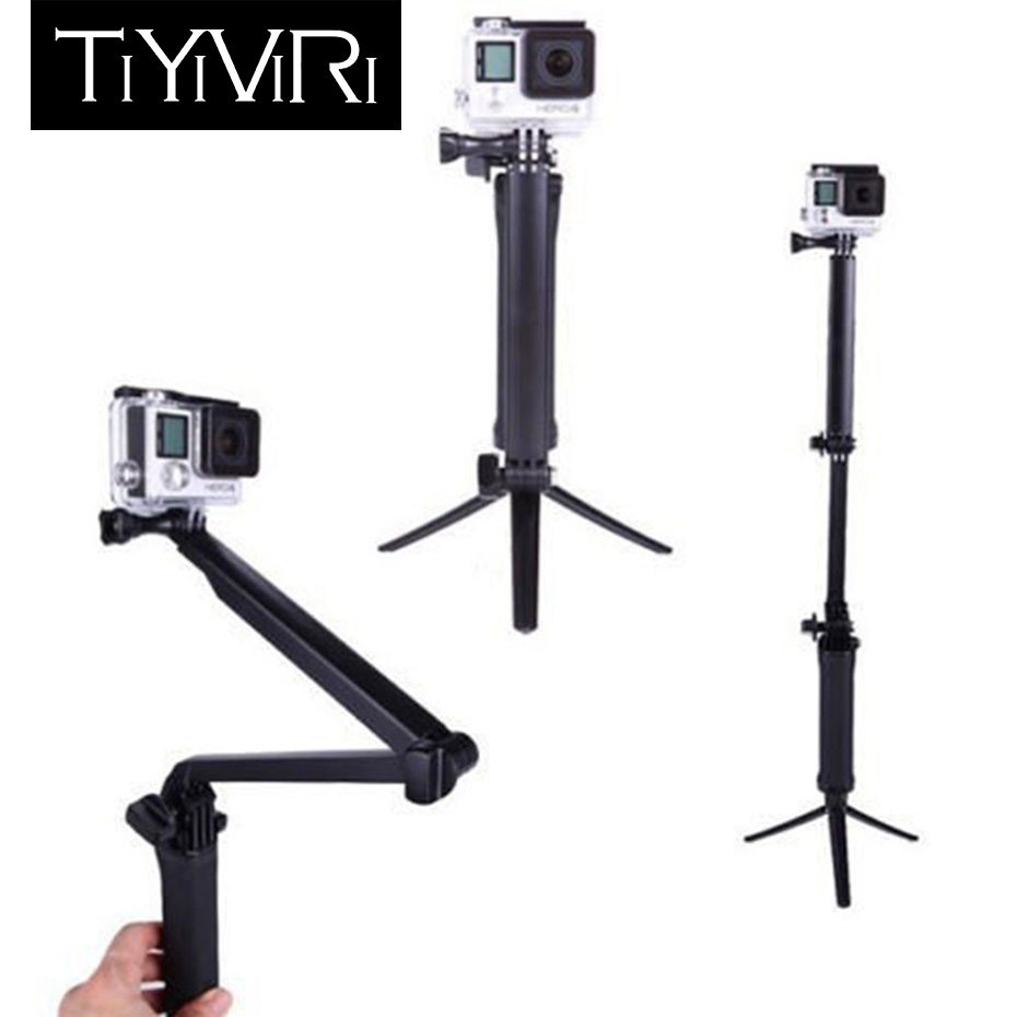 3 Way Grip Waterproof Monopod Selfie Stick For Gopro Hero 5 6 4 Black Session SJ4000 for Xiaomi Yi 4K Sports Camera Tripod Stand akaso 3 way grip waterproof monopod selfie stick for gopro hero 5 4 3 session ek7000 xiaomi yi 4k camera tripod go pro accessory