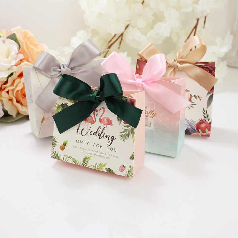 10 шт Европейский Famingos конфеты мешок французский спасибо свадебный подарок коробка пакет день рождения любимые пакеты сумки Подарочная коробка