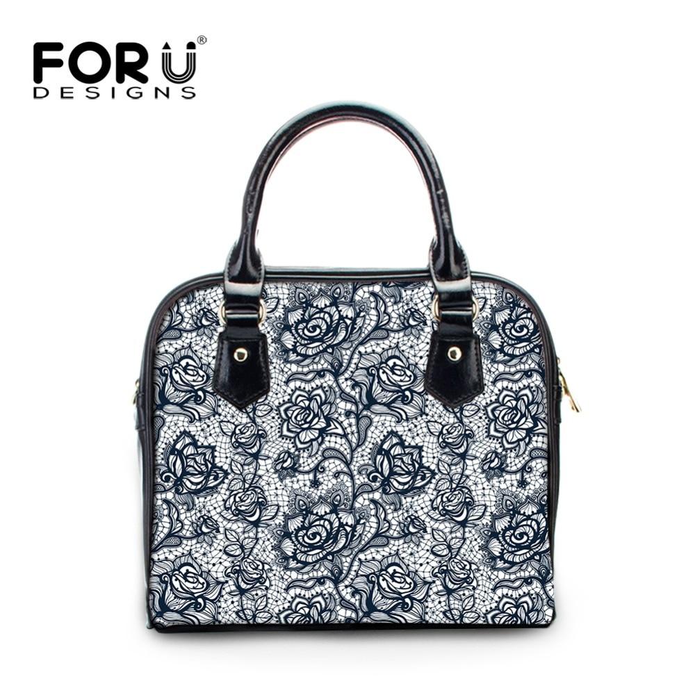 FORUDESIGNS Flower Lace Print Women PU Leather HandBags Ladies Totes Shoulder Bag High Quality Woman Crossbody Bag Girls Satchel