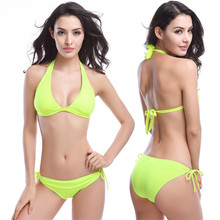 Women Bra Set Solid Color Sexy Sling Lace Triangle Bikini Sets Bandage Ladies Bathing Suit and Underwear Swimsuit Briefs