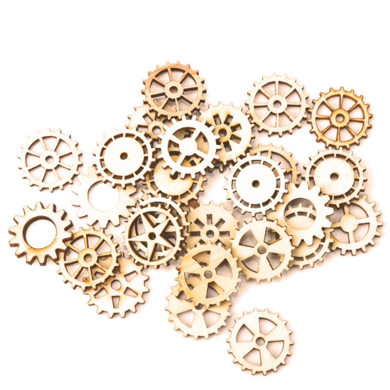 Mixed Wheel Gear Pattern Natrual Wooden Scrapbooking Hollow Craft Round Random For Home Decoration 25mm 50pcs MZ43