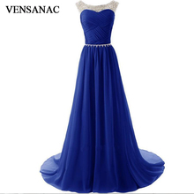 VENSANAC 2017 New A Line Crystals O Neck Long Evening Dresses Sleeveless Elegant Pleat Sash Sweep Train Party Prom Gowns