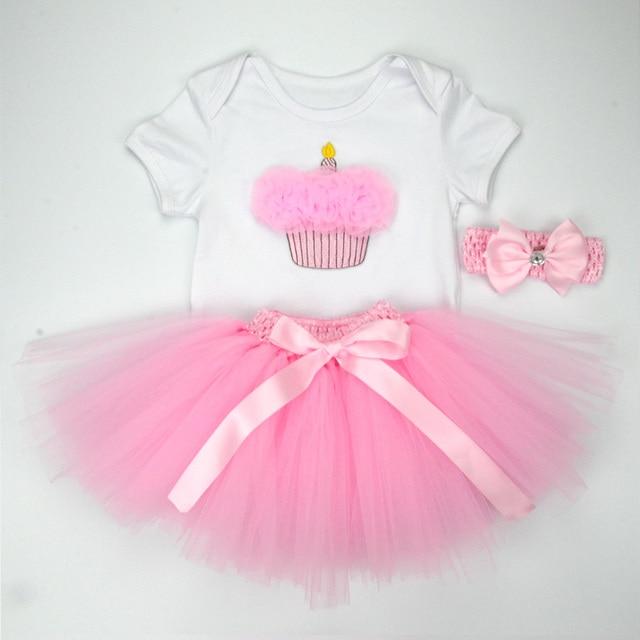 Christmas Baby Girl 3pcs Clothing Sets Infant Cotton Romper+Tulle Skirt+Headband Halloween Costumes Party Bebe Birthday Vestidos